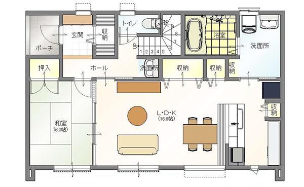 真岡市の注文住宅二階建ての1階間取り