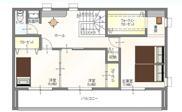 真岡市の注文住宅二階建ての2階間取り